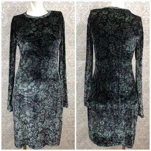 🌞Nicole Miller Crushed Velvet Floral Ombré Dress
